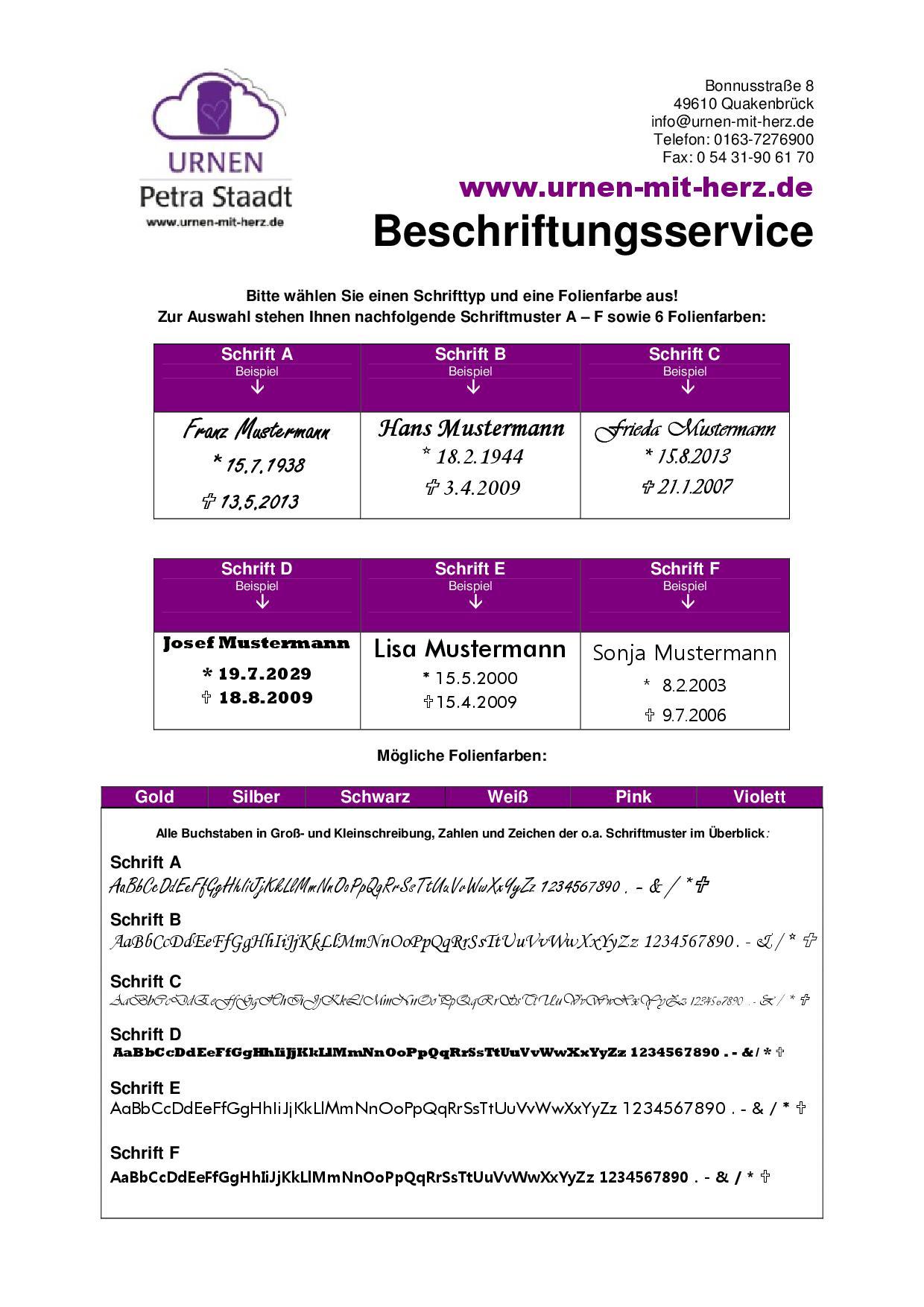 Urnen Petra Staadt - Beschriftungsservice